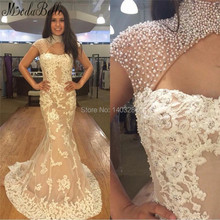 2017 luxus Perlen Perlen Lange Abendkleider Mit Appliques Meerjungfrau Dubai Kleider Afrikanische Formale Party Kleider Abendkleider