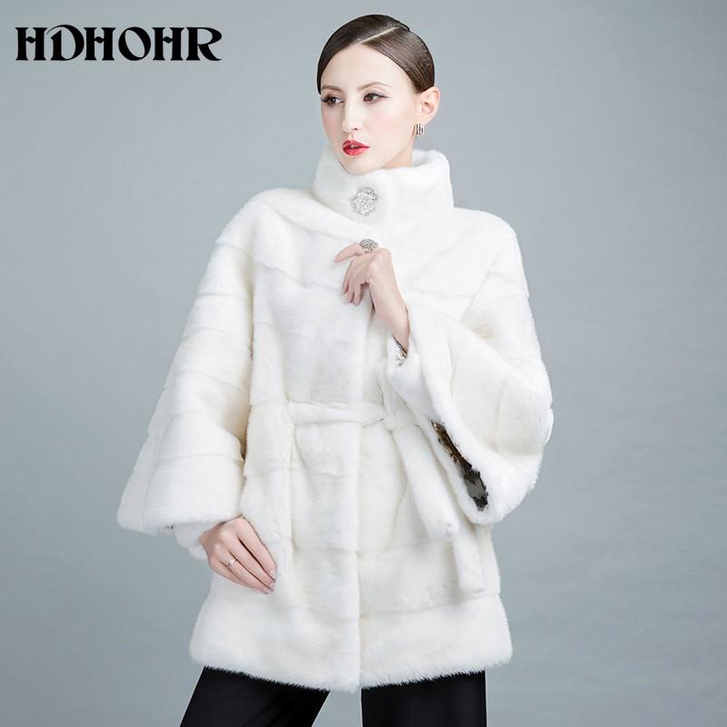 HDHOHR 2019 Νέα Λευκή Mink Γούνα Γούνα Φυσική - Γυναικείος ρουχισμός - Φωτογραφία 2