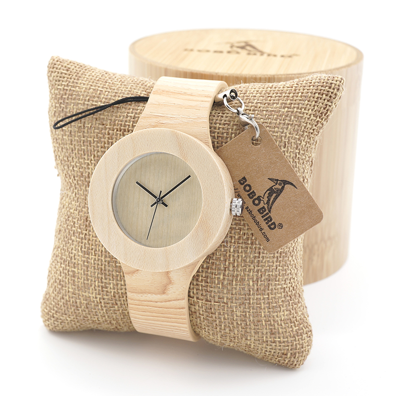 BOBO BIRD Womens Retro Wooden Gold Watches with Wood Grain Vegetable Tanned Leather Simplement Design Ladies