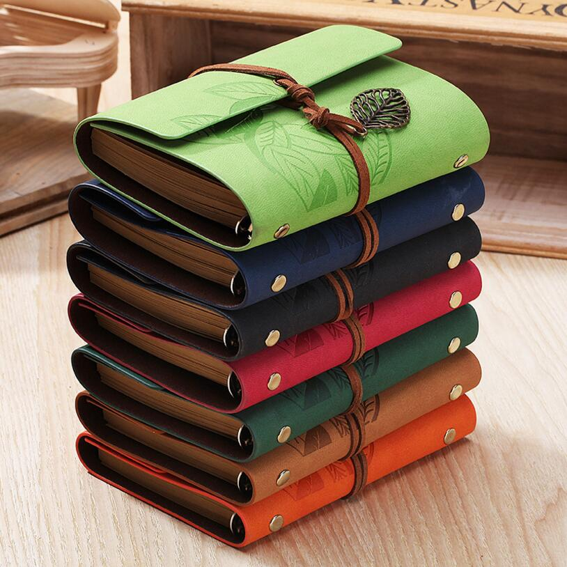 5 Inch 14.5x10.5cm PU Leather Vintage Khaki Paper Maple Leaf Photo Album Diary Notebook 80 Sheets Steel Ring Binding Lron Leaves image