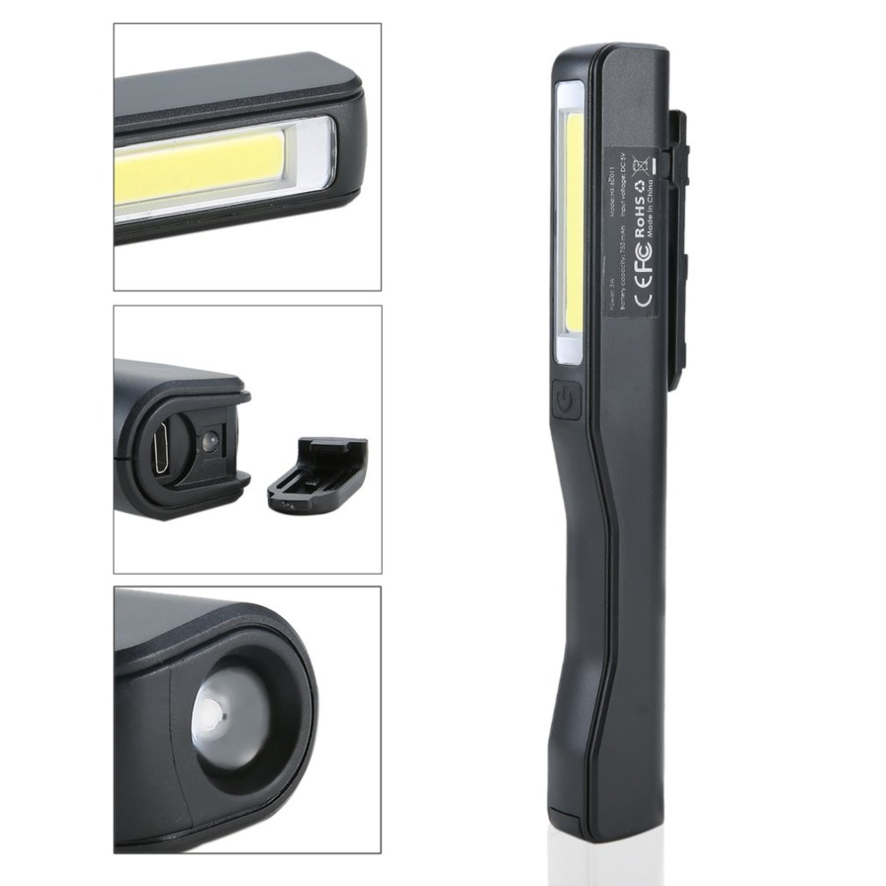 2 In 1 USB Rechargeable Portable Lightweight COB LED Camping Work Inspection Light Lamp Pen Light Hand Torch NEW Arrival
