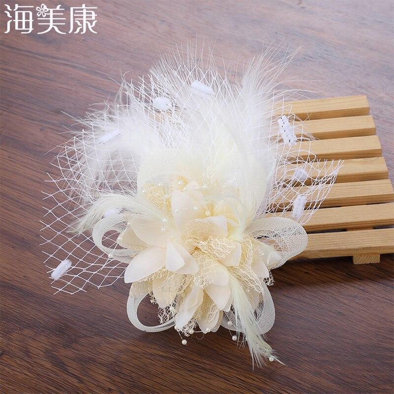 Haimeikang Women Elegant Fascinator Hat Hair Clips Flower Feather Mesh Yarn Cocktail Party Wedding Hair Accessories