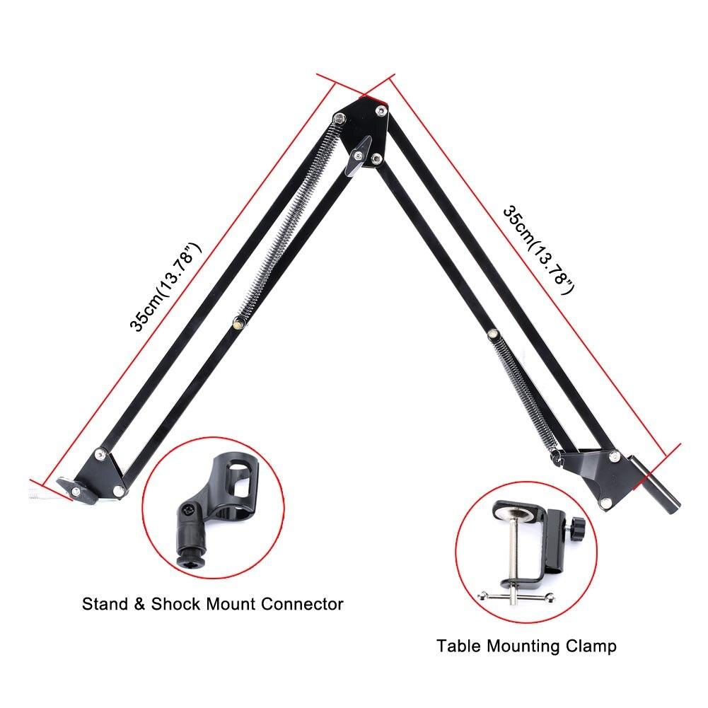 Micro à condensateur support de bras de ciseaux filaire support de choc en métal filtre Pop enregistrement sonore pour bavarder chanter DJA99