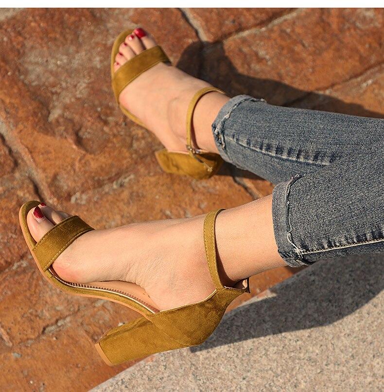 HTB1qfh8bh2rK1RkSnhJq6ykdpXaT Women Sandals Ankle Strap Summer Shoes Woman High Heels Sandals Plus Size 43 Chaussures Femme Open Toe Women Summer Sandals