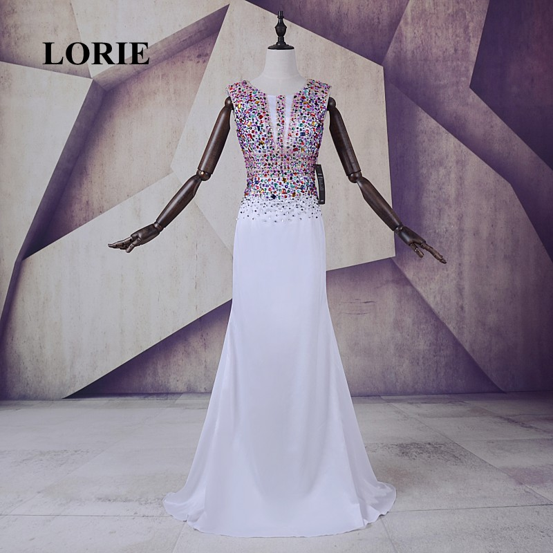 LORIE Långa Aftonklänningar för Party Luxury O-Neck Vestido largo de Noche Beaded Stones Shining White Prom Party Party Dress