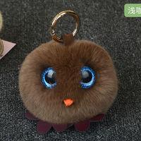Cute Cock Hen Chicken Fluffy Genuine Real Rabbit Fur Pompom Keychain Pom Pom Key Ring Key
