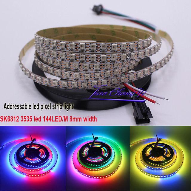 1 m SK6812 MINI 3535 144led/m DC5V direccionable RGB tira LED del pixel 8mm ancho PC