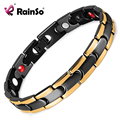 Rainso Fashion Black Gold Bracelet Stainless Steel Anti-fatigue Magnetic Therapy Power Bio Bracelet for Men OSB-028BGFIR
