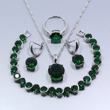 Free Shipping Cheap-Spark Green Zircon 4PCS 925 Sterling Silver Women Jewelry Set Earrings Ring Necklace Pendant Bracelet Z55(China)