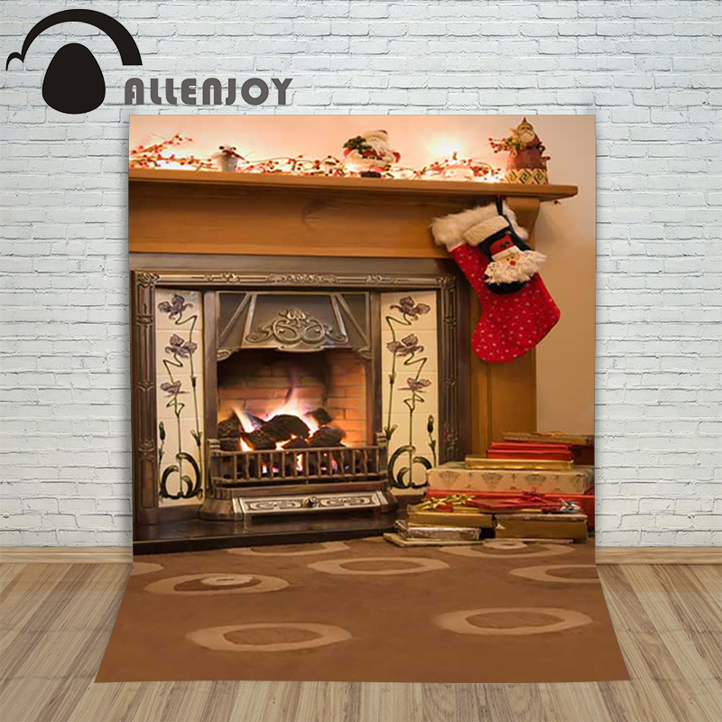Christmas children's photo background Carpet fireplace xmas sock gift backdrop photography studio shoots new year holiday allenjoy christmas photography backdrop wooden fireplace xmas sock gift children s photocall photographic customize festive