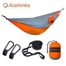 Acehmks hammock portátil dobrável ultraleve parachute náilon acampamento hammock jardim balanço multi cor com 2 correias de árvore único
