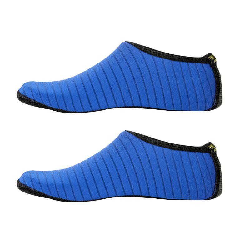 1 Pair Stripes Design Swim Shoes Unisex Anti Slip Socks Beach Pool Surfing Yoga