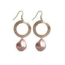 kshmir Geometrical irregular circular fashion Ms earrings sweet Pearl Street snap tide female wholesal