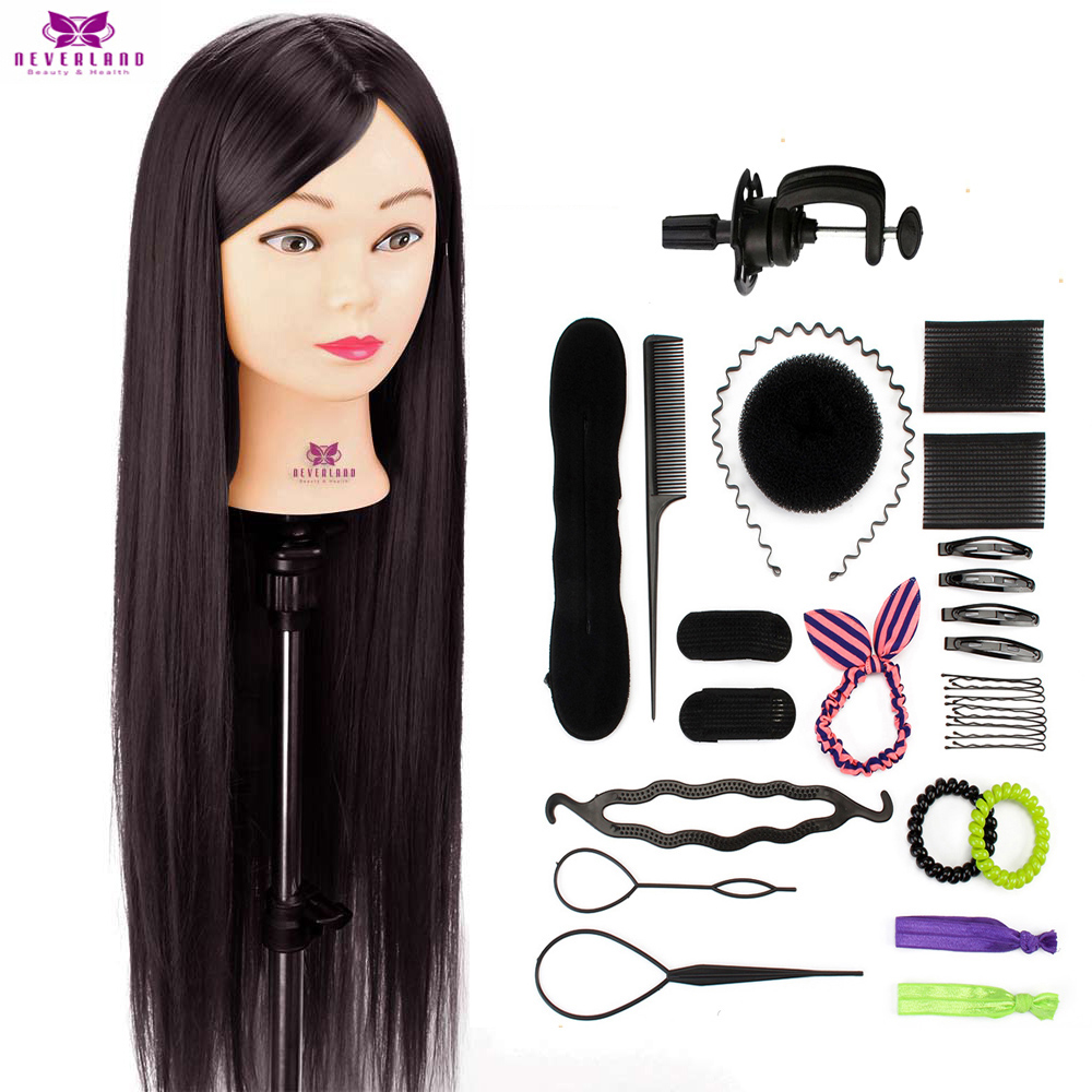 26'' Long Deep Brown Hair Training Mannequin Head 30% Real Hair For Hairstyles Salon Professional Hairdressing Doll Heads +Gifts