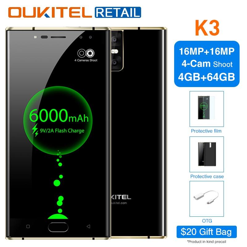 Oukitel K3 5,5 дюймов FHD мобильного телефона Android 7,0 Octa Core 4 ГБ + 64 ГБ 6000 мАч 4 камеры 16MP + 2MP спереди отпечатков пальцев Смартфон