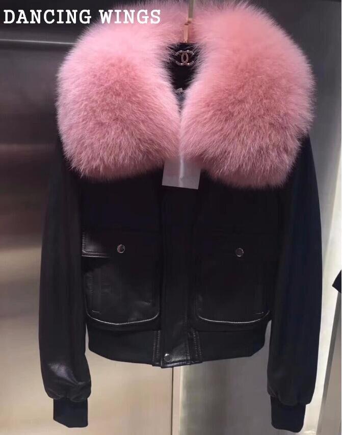 Femmes Hiver Véritable peau de Mouton Vestes Réel Fox Col De Fourrure Manteaux Courts Mode Survêtement Mince