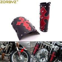 ZORBYZ Универсальный Мотоцикл Черная передняя вилка из искусственной кожи чехол красный крест с хромированными шипами для Harley Honda Yamaha
