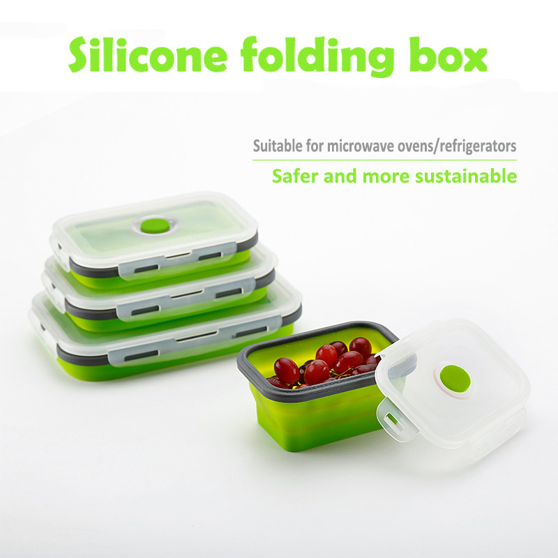 Silicone Bento Box Portable Color Collapsible Food Box Child Adult Lunch Box 500/800 /1200ml Environmental Protection Lunch Boxes     - title=