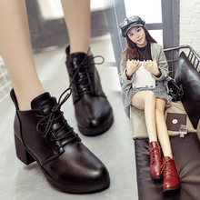 Women Martin Boots Shoes Lace-Up Pointed Toe Solid Shallow 5.5cm Thick High Heel Lady Shoes Casual Female Pumps Booties Shoes