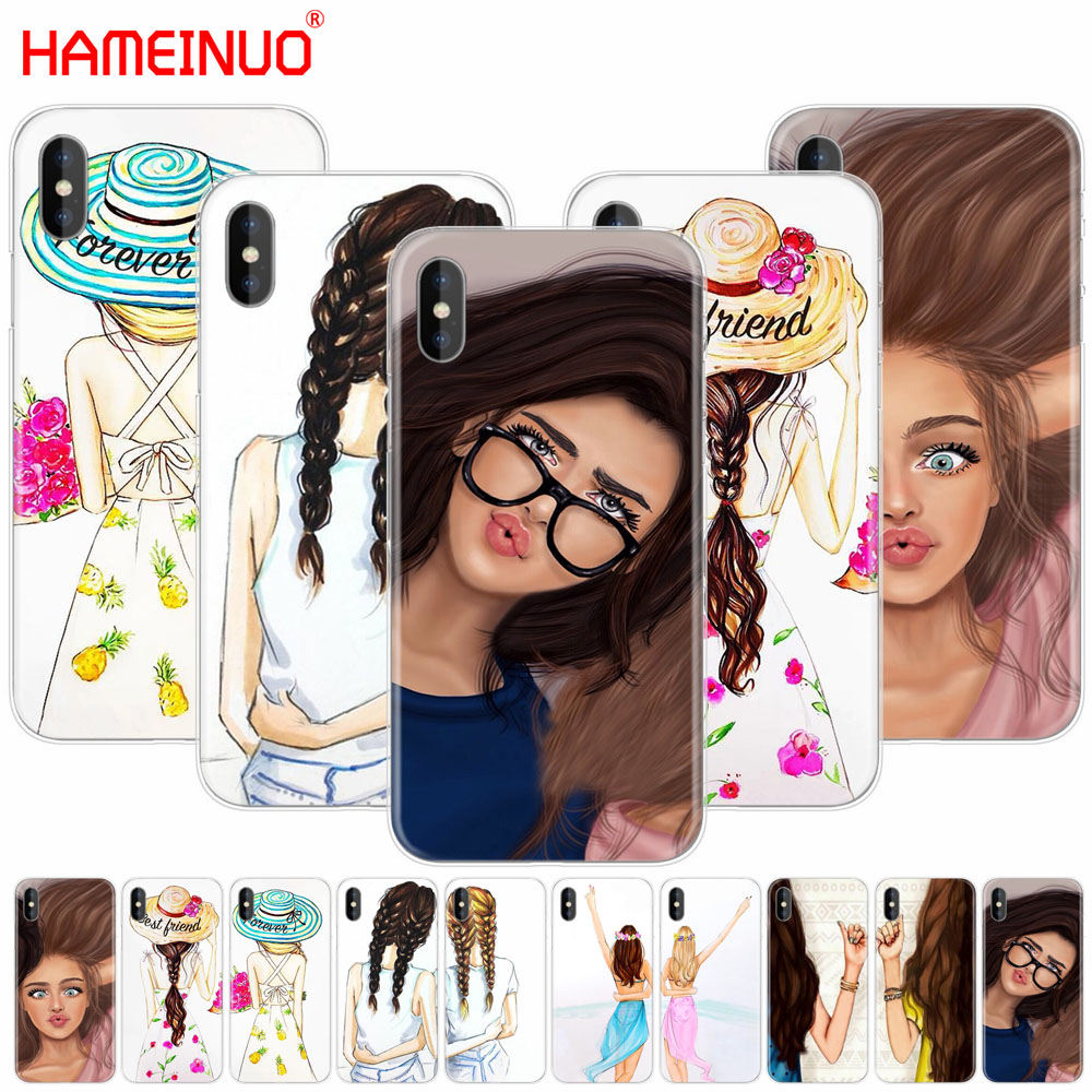 HAMEINUO Girls Brunette Blonde Best Friends <font><b>BFF</b></font> Matching cell phone Cover <font><b>case</b></font> for <font><b>iphone</b></font> X 8 7 6 4 4s 5 5s <font><b>SE</b></font> 5c 6s plus image