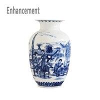 Blue and White Ceramic Vase Design Porcelain Flower Ancient Chinese Figure Story Pattern Vase Handmade Jingdezhen Flower Vases