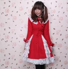Custom Tailored Red Lolita Winter Coat Red Lace Patched Sweet Lady's Jacket Price: US $119.99 / piece