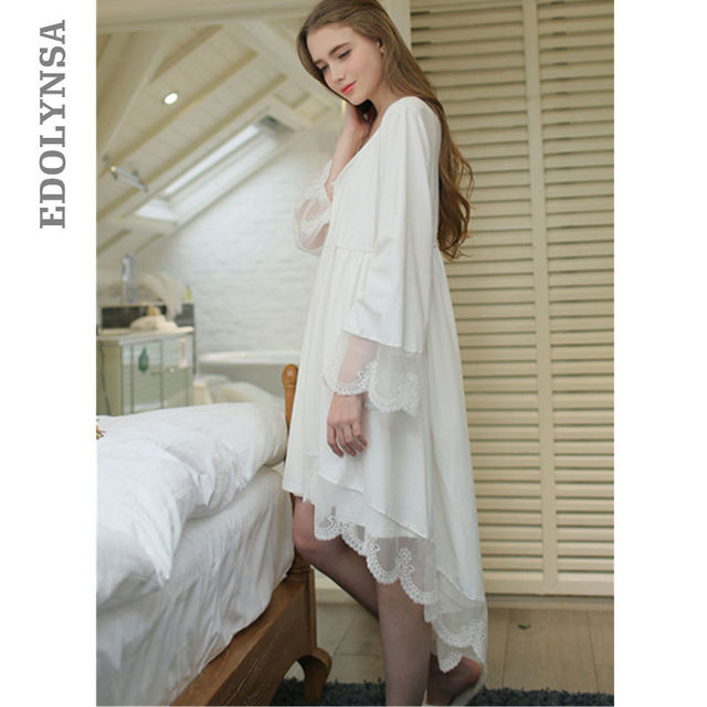 Long Back Short Front Robe Gown Set Autumn Two Pieces Sleepwear Plus Size  Cotton White Peignoir Sets Lace Kimono Nightdress T273 3d8b8b992