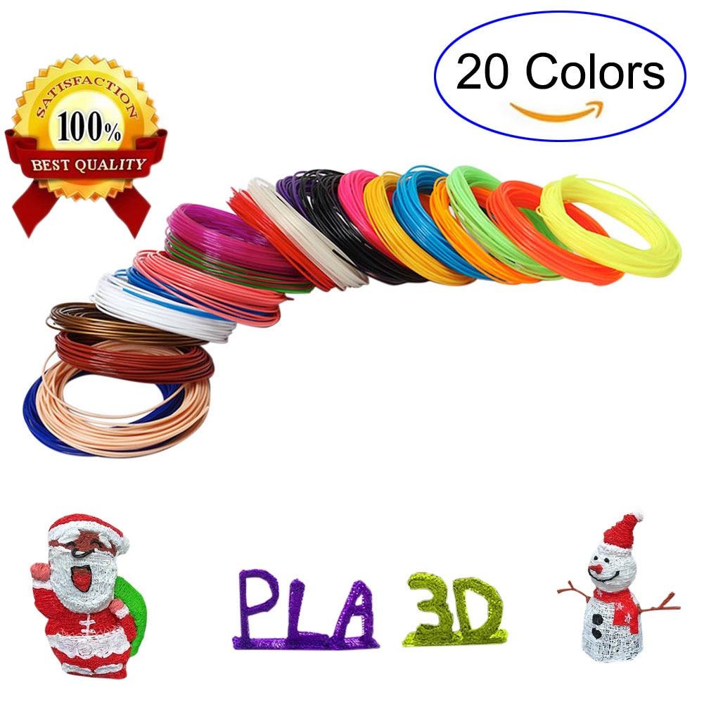 New 5M 20 Colors 3D Pen Filament PLA 1.75mm Plastic Rubber Printing Filaments for 3D Printer QJY99