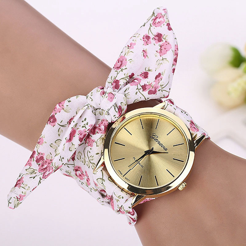 Women Watches Zegarek Damski Vogue Floral Strap Wristwatch Women's Jacquard Cloth Quartz Watch Dress Bracelet Relogio Feminino
