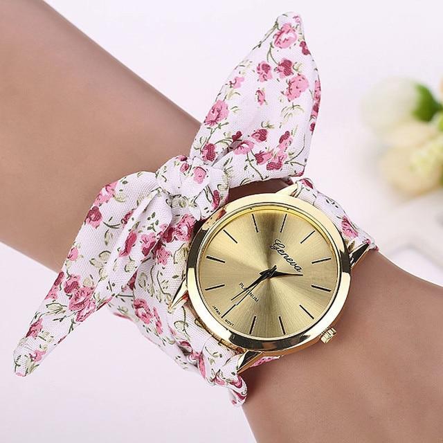 Women Watches Zegarek Damski Vogue Floral Strap Wristwatch Women's Jacquard Clot