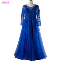Real Photos Dark Royal Blue Plus Size Evening Dresses Scoop Appliques Lace-Up Mother of the Bride Dress Long Evening Party Gowns