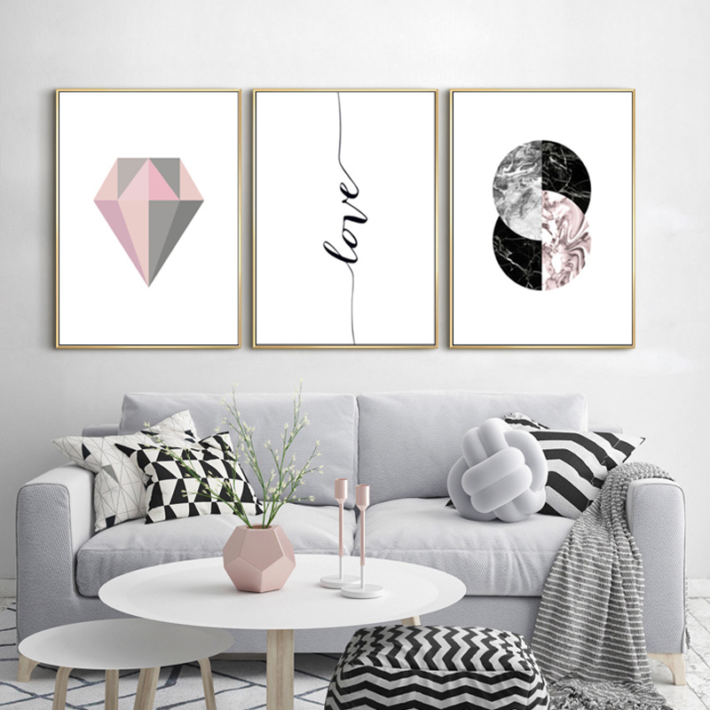 Us 4 79 40 Off Sure Life Modern Abstract Pink Grey Geometry Diamond Canvas Paintings Love Wall Art Pictures Posters Prints Living Room Decor In