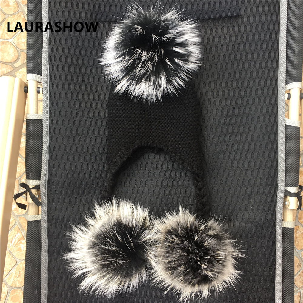Image 4 - LAURASHOW Winter Kids Real Mink Raccoon Fur Ball Pompoms Hat Children Knitted Girls Boys Warm Cap Baby Beanies Wool-in Men's Skullies & Beanies from Apparel Accessories