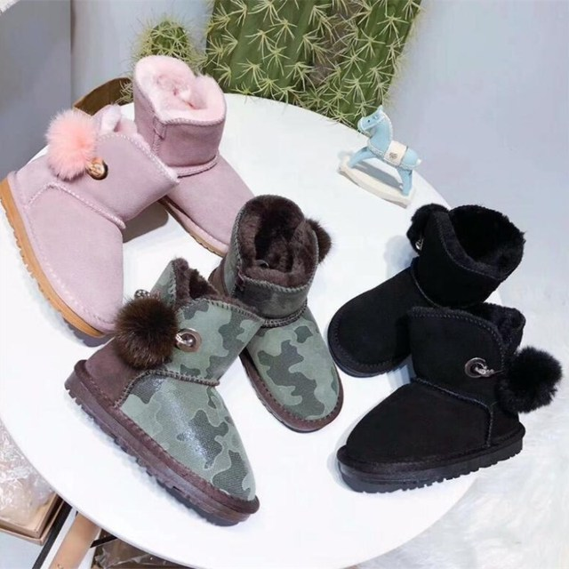 31c9ddc00b0 2018 Australian style new brand IVG fur one snow boots girl fashion hair  ball hanging non-slip cotton boots EU23~34