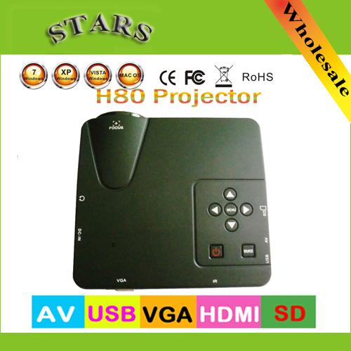 H80 Home Cinema Theater HD Multimedia Mini LED Projector 640*480 resolution SD AV PC VGA USB HDMI Projektor Projetor Proyector