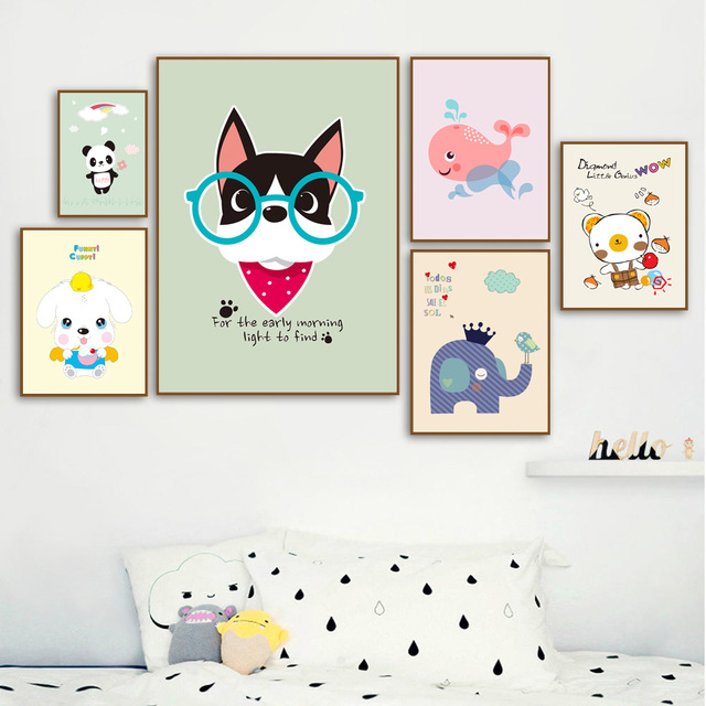Elephant Whale Cat Dog Wall Art Canvas Painting Nordic Posters And Prints Nursery Animal Pictures