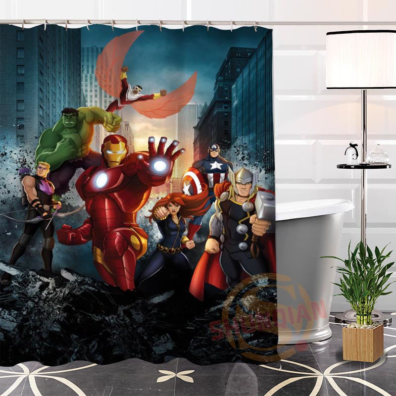 Hot New Eco-friendly Custom Unique The Avengers Modern Shower Curtain bathroom With Hooks for yourself H0220-76