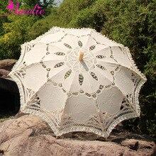 Викторианская вышивка цветок Баттенбург кружевной зонтик с кружевным украшением вечерние свадебные душ фото реквизит невесты Зонтик Подарки