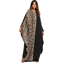 #1867014  Women's Muslim Dress Leopard Print Knitting Bat Sleeve Dress Muslim Robe Ramadan Dresses Mujer Vestidos Fashion Faldas