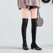 MLJUESE/ г. Женские ботфорты выше колена бархатные зимние высокие сапоги на высоком каблуке с квадратным носком, на молнии, под платье Размер 33-40