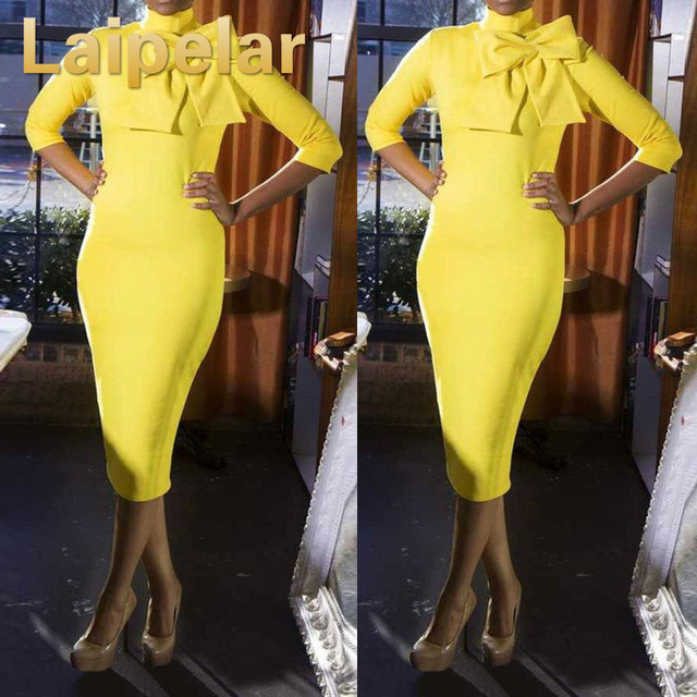 Laipelar Women Sexy Bow Bodycon Dress New 2018 Spring Summer 3/4 Sleeve Yellow Club Bandage Evening Party Pencil Midi Dresses