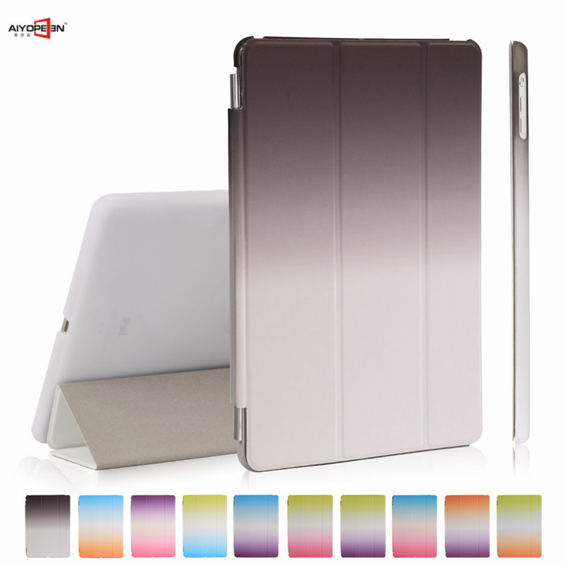 for new ipad 9.7 case 2017 release,aiyopeen smart wake up sleep hard pc back cover with rainbow gradient pu leather flip stand for ipad air2 case pu leather smart wake up sleep solid pc back cover magnetic flip stand origimi brand aiyopeen with gift
