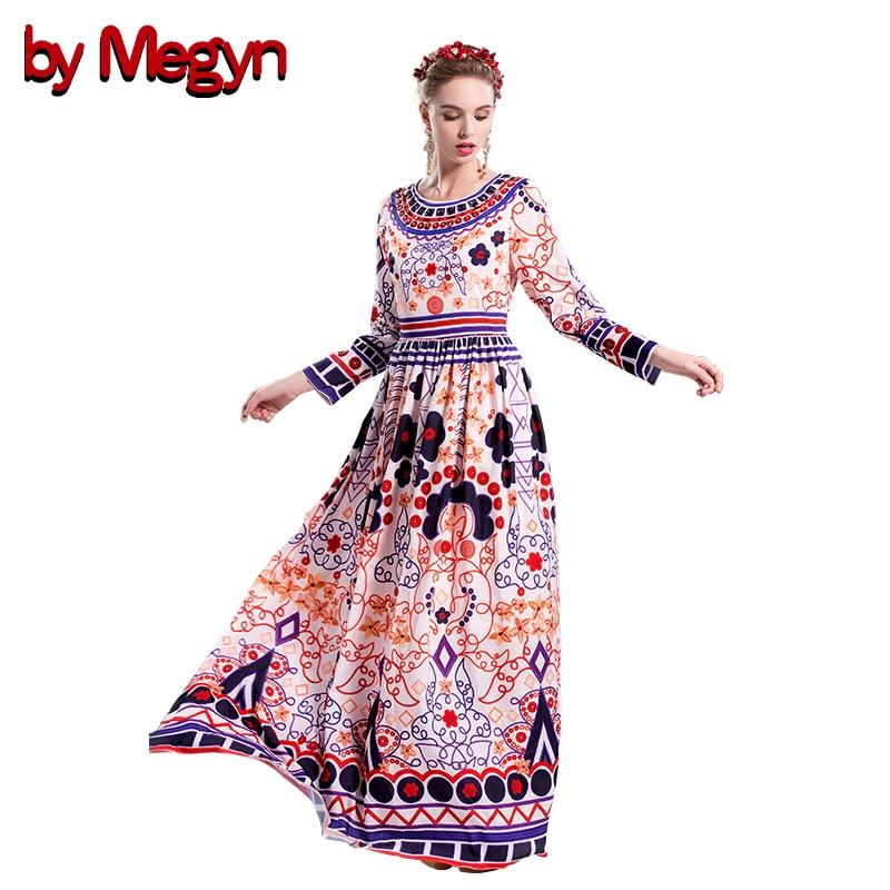 High Quality 2017 Fashion Runway Designer Brand Autumn Dress Women Long Sleeve Floral Print Appliques Maxi  Dress Vestidos V302