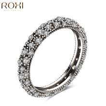 ROXI 925 Sterling Silver Ring Jewelry Zircon Crystal Zirconia Luxury Wedding Bridal Party Rings for Women Lady SIZE 6 7 8 9