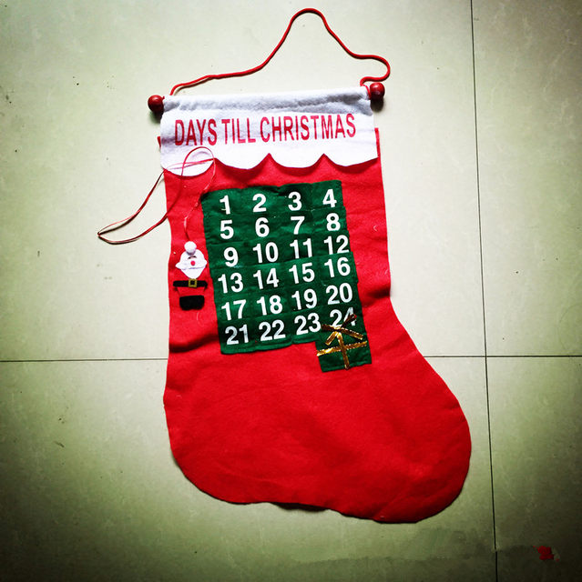 10pcs christmas advent calendar stocking xmas tree hangers haning decoration advent countdown calendar sock xmas gift bag - Countdown Till Christmas Decoration