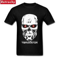 2017 Male Terminator 2 T Shirt Men Arnold Schwarzenegger Robot Skull T Shirt 1980 S Fashion