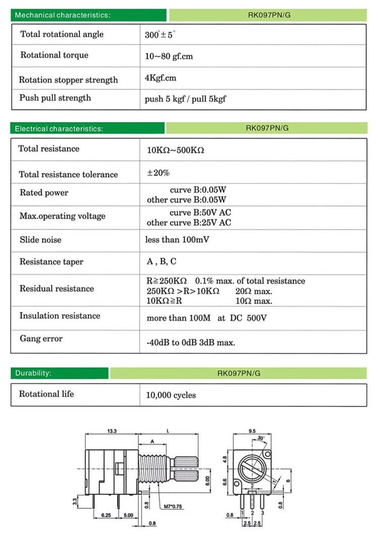 RV097NS Single Audio Amplifier Seal Potentiometer With Switch 5P B5K B10K B20K B50K B100K B500K