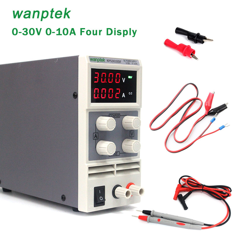 DC Power Supply Variable,0-30 V 0-10 A Adjustable Switching Regulated Power Supply Digital,with Alligator Leads lab Equipment