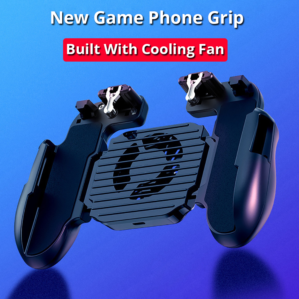 game phone grip built with cooling fan