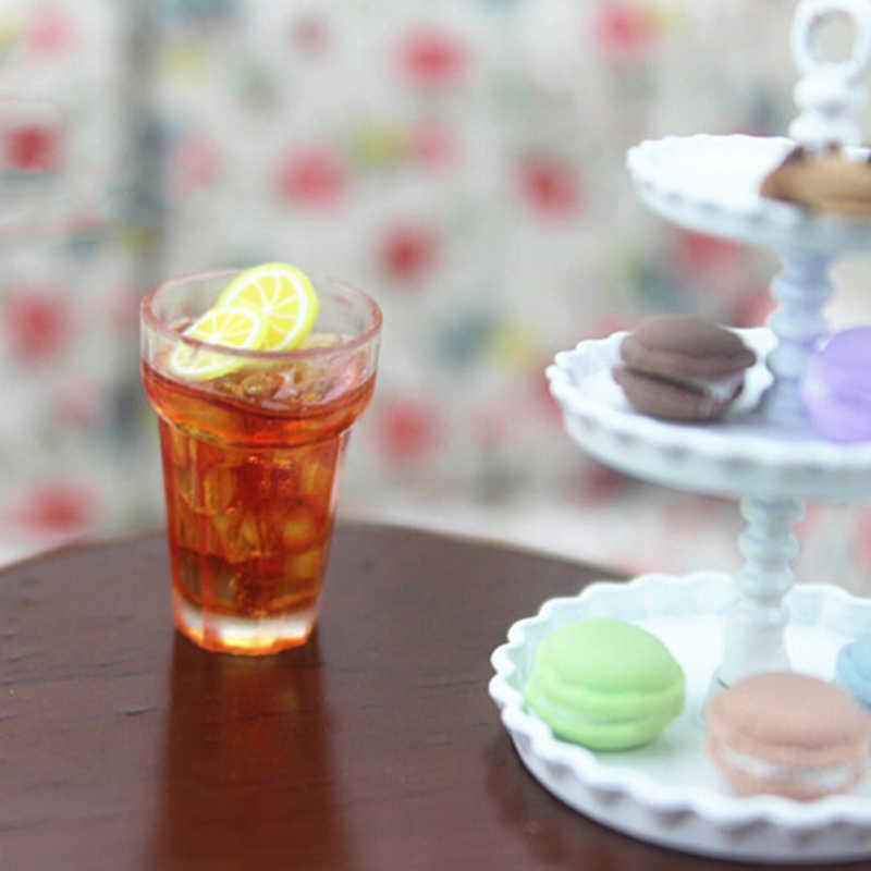 2 pçs 1:12 casa de bonecas mini limão leite copo de água em miniatura casa de bonecas acessórios copos brinquedo decoração presentes móveis brinquedos